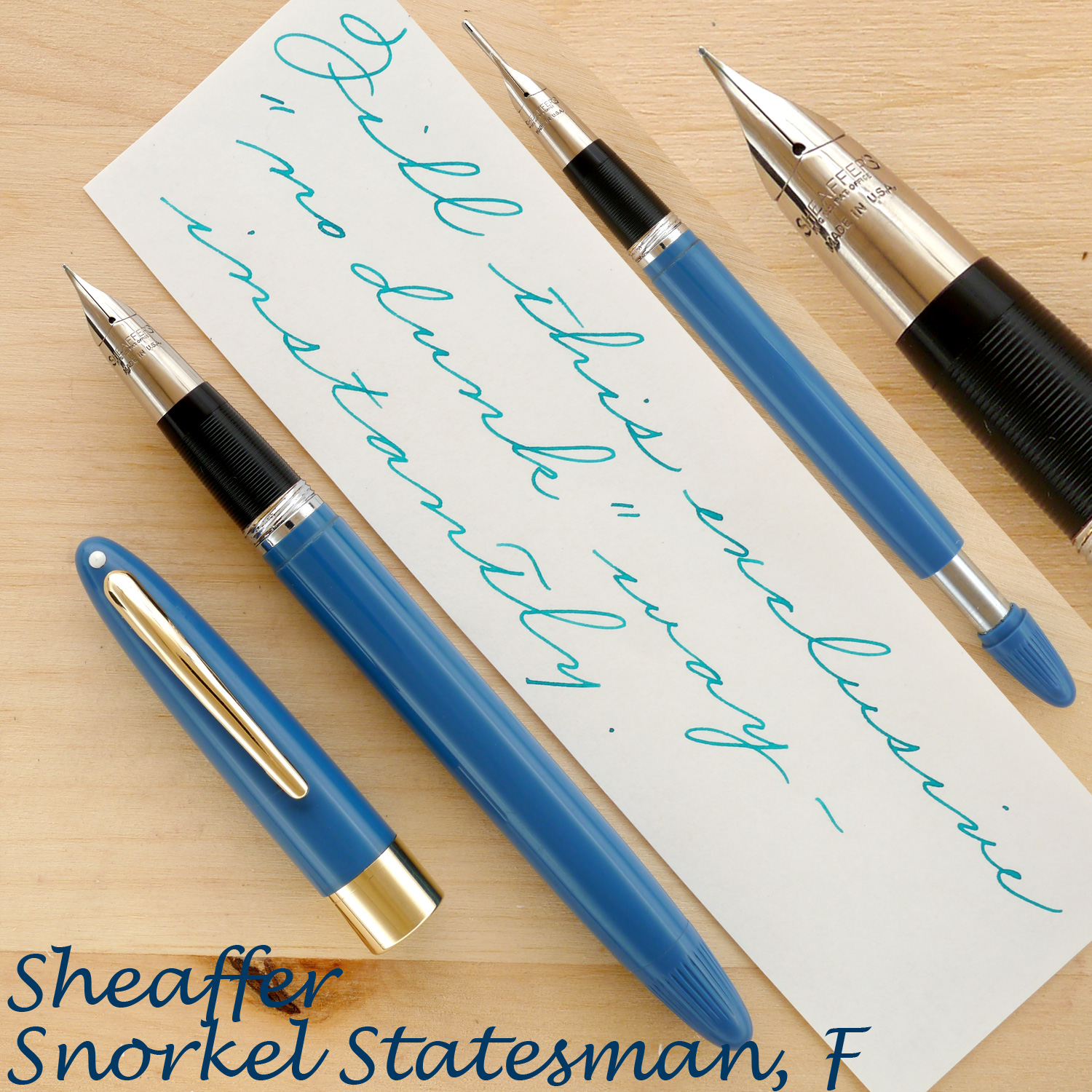 Sheaffer Snorkel Statesman, Pastel Blue, F, uncapped, with the Snorkel tube extended