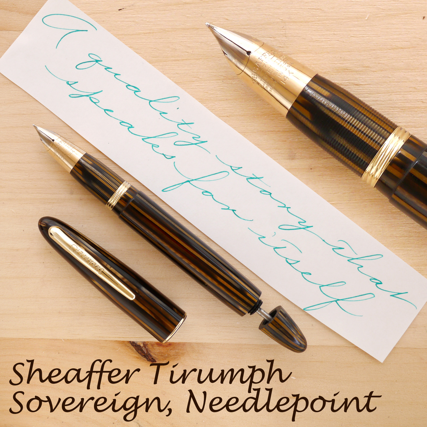 Sheaffer Triumph Sovereign, Golden Brown, Needlepoint, with the cap off and the plunger partially extended
