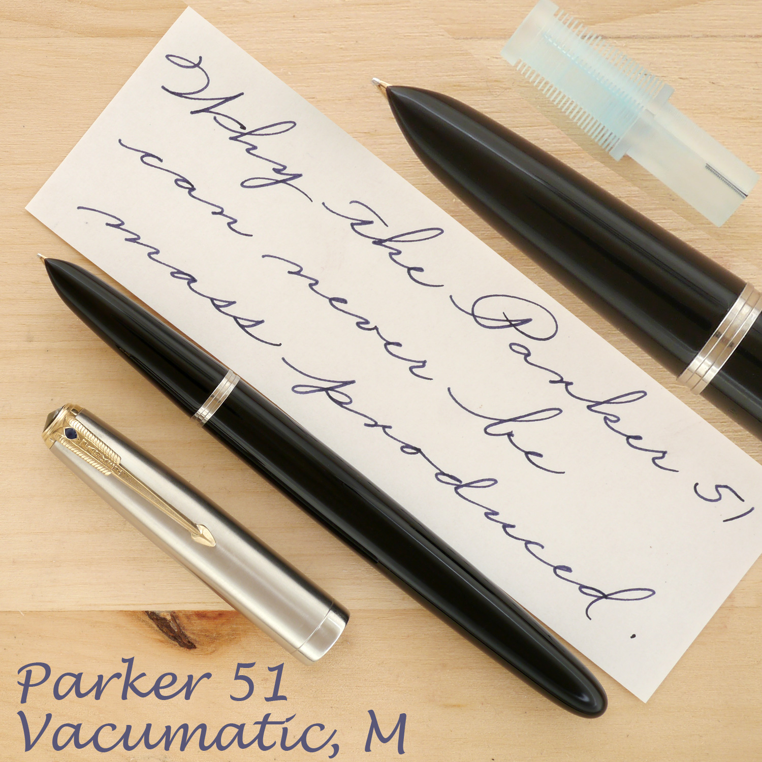 Parker 51 Vacumatic, Black, M, uncapped, also showing the hand-machined collector