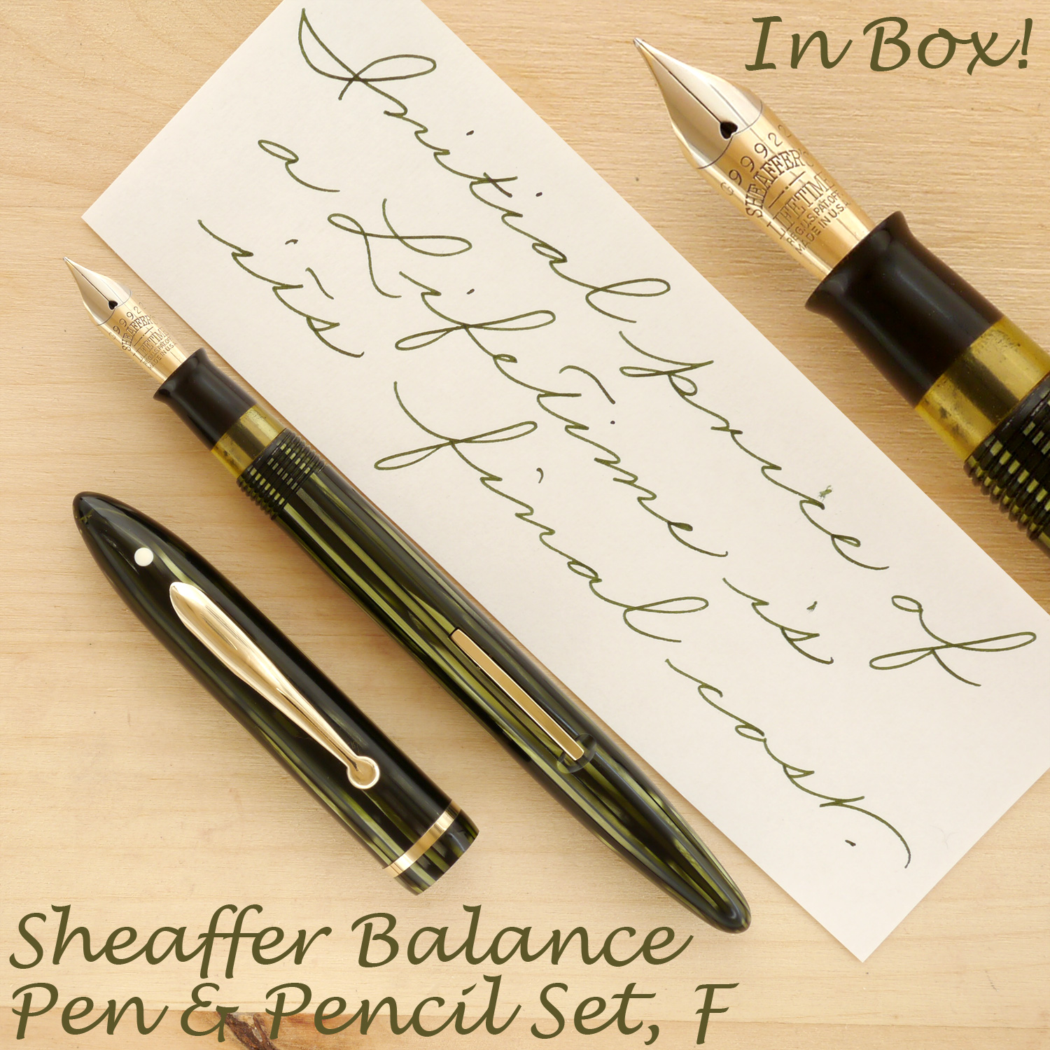 Sheaffer Balance Pen and Pencil Set, Marine Green, F, uncapped