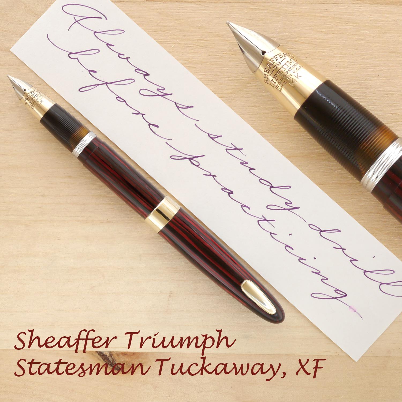 Sheaffer Triumph Statesman Tuckaway, Carmine, XF, posted
