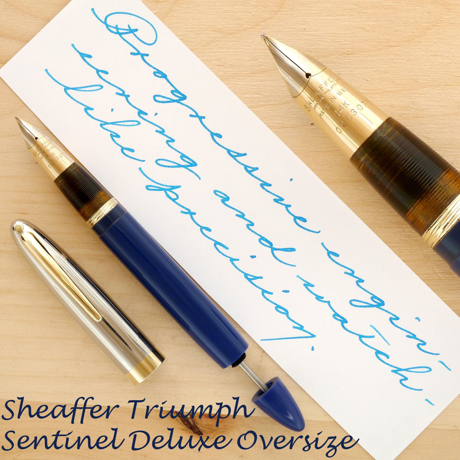 Sheaffer Triumph Vac Sentinel Deluxe Oversize, Blue, B, uncapped with the plunger partially extended