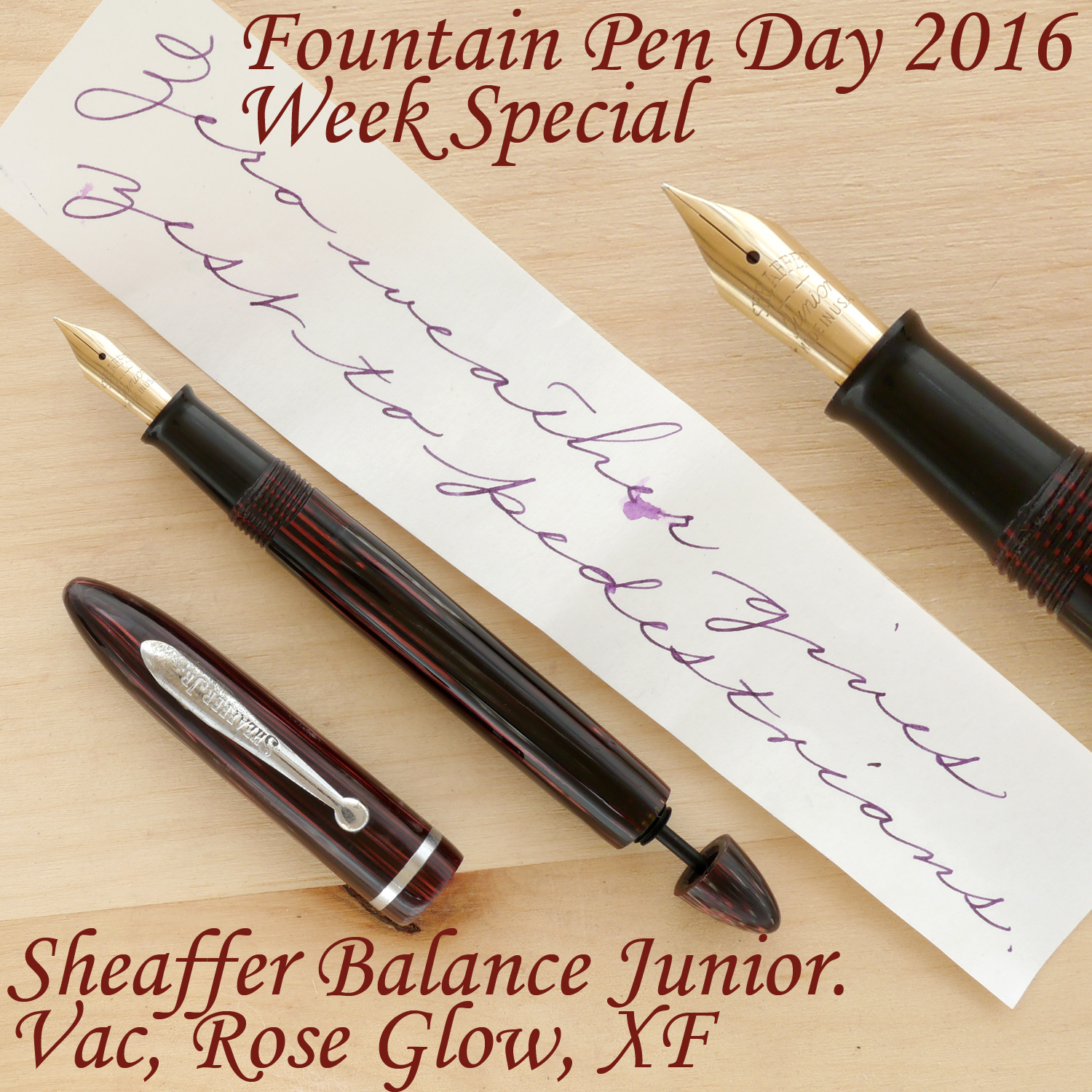 Sheaffer Balance Junior Vac, Rose Glow, XF, uncapped, with the plunger partially extended