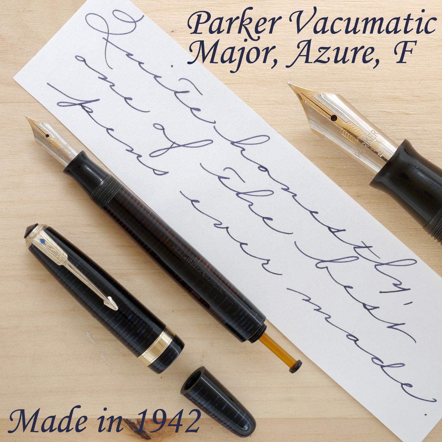Parker Vacumatic Major, Azure Pearl, F, uncapped, with the blind cap removed