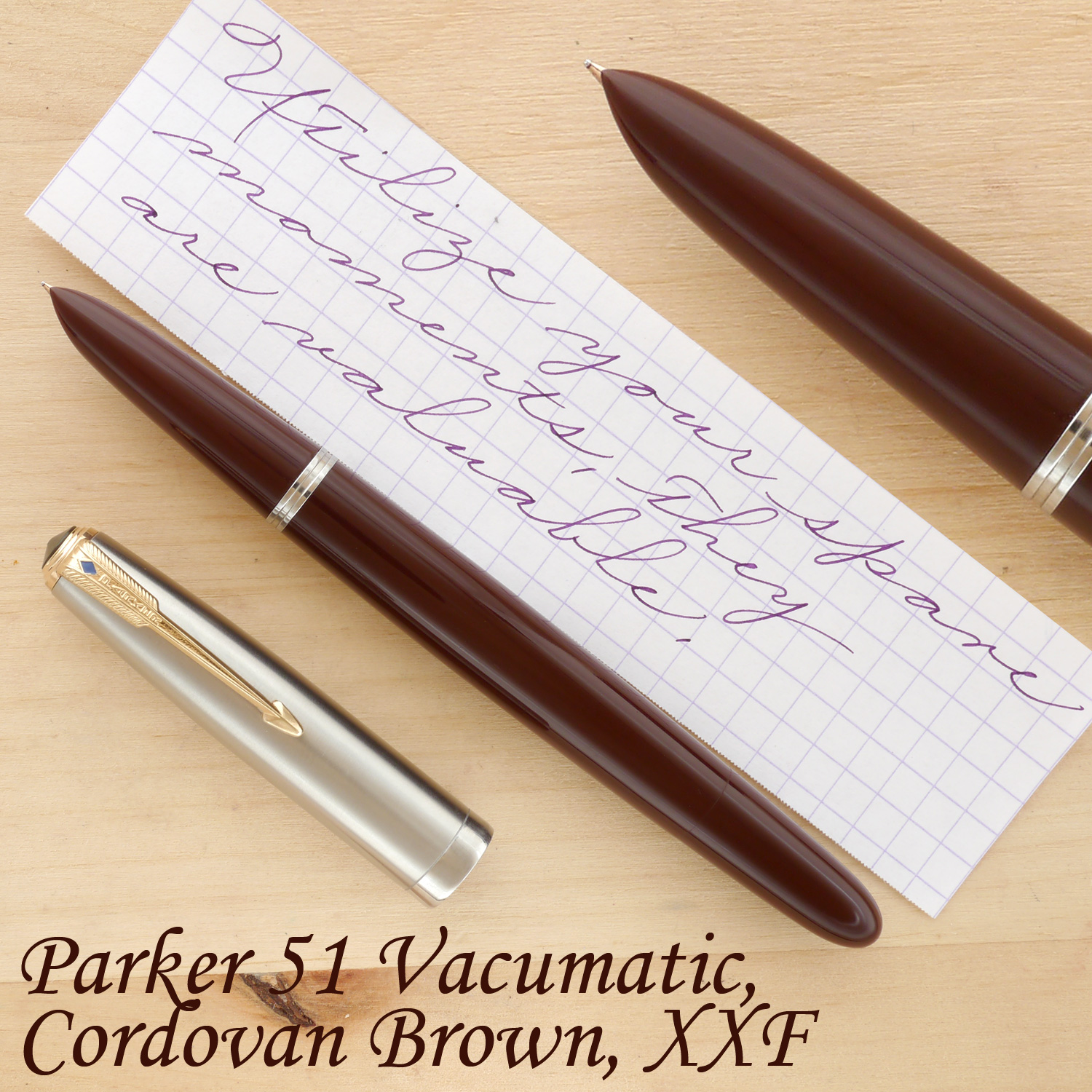 Parker 51 Vacumatic Fountain Pen in Cordovan Brown, XXF, uncapped