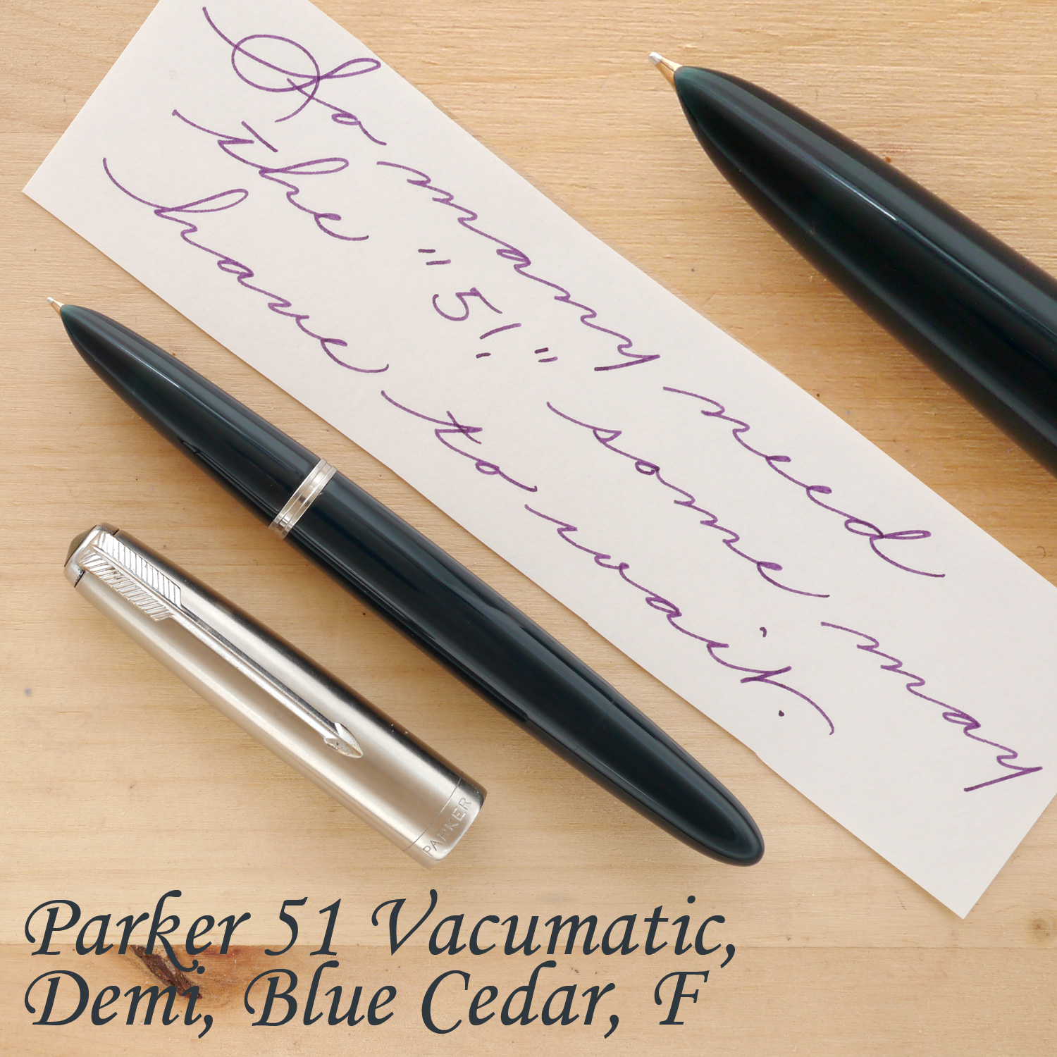 Parker 51 Vacumatic Demi Fountain Pen, Blue Cedar, F, unposted