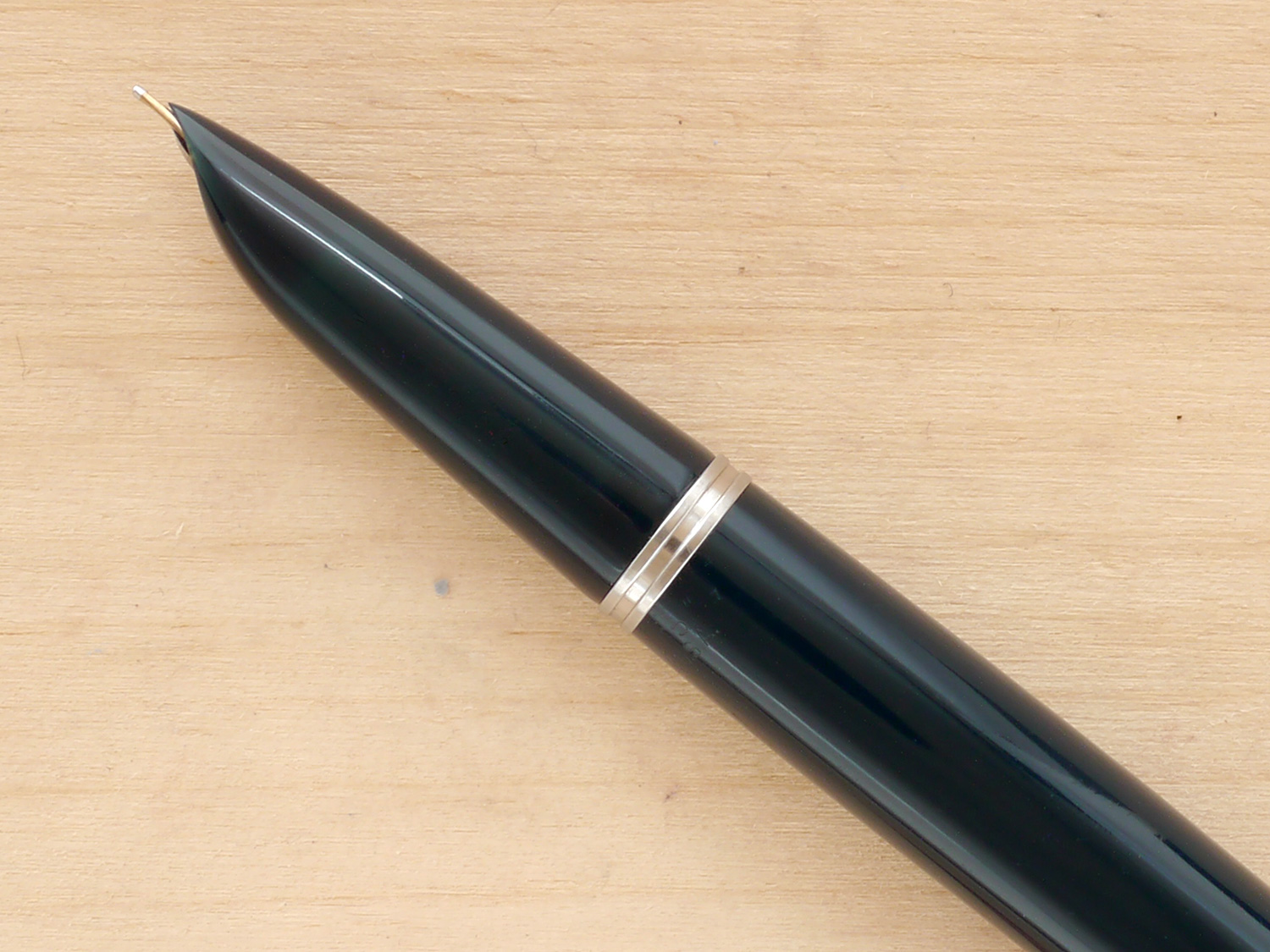 Parker 51 Vacumatic Demi Fountain Pen, Blue Cedar, F, nib profile