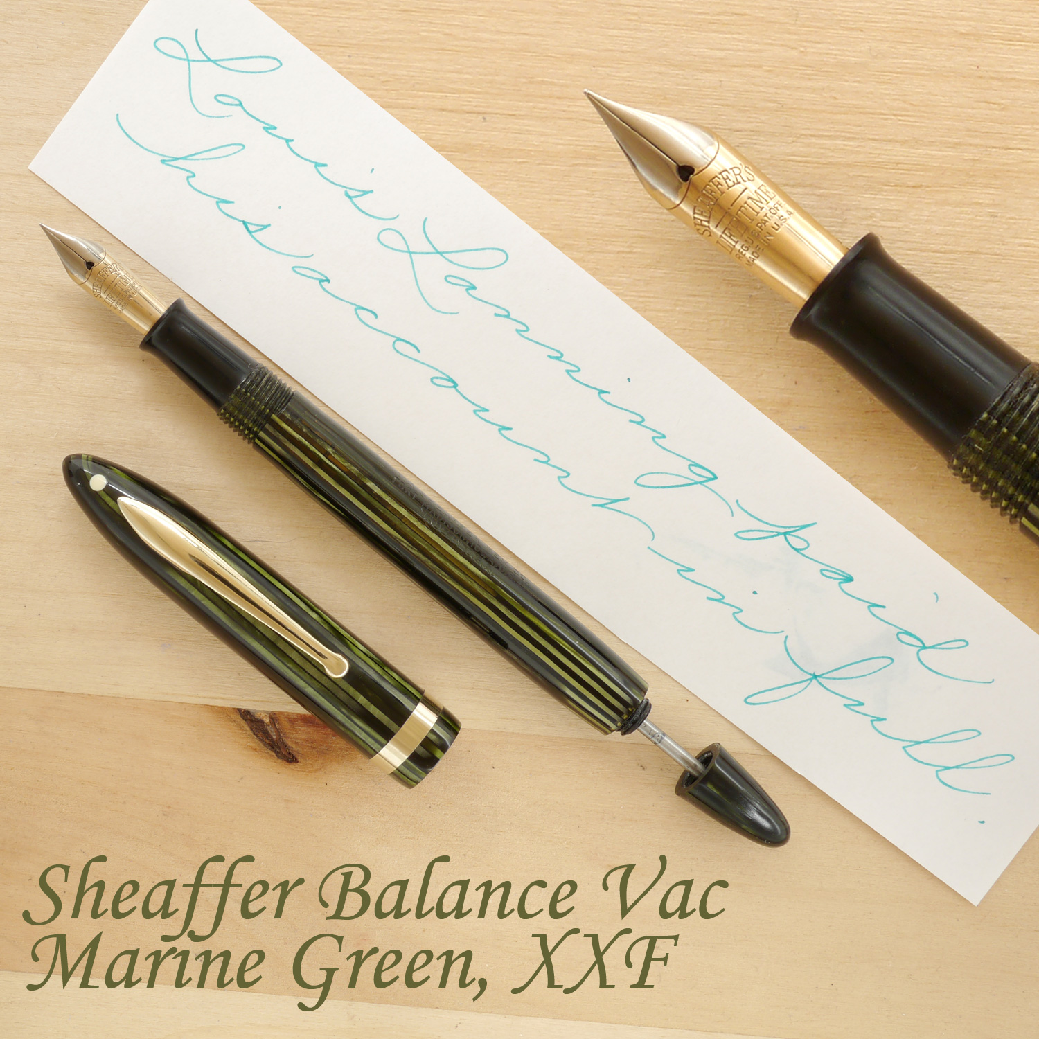 Sheaffer Balance Vac Fountain Pen, Marine Green, XXF, uncapped, with the plunger partially extended