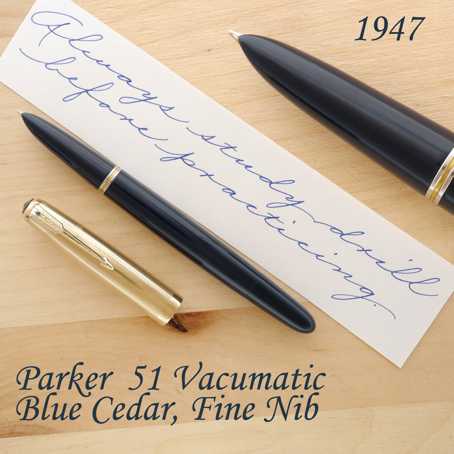 Parker 51 Vacumatic Fountain Pen, Blue Cedar, Gold-Filled Cap, F, uncapped