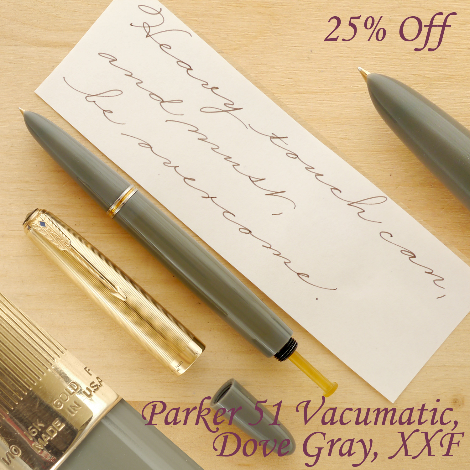 Parker 51 Vacumatic Fountain Pen, Dove Gray, XXF, uncapped, with the blind cap off, showing the plunger