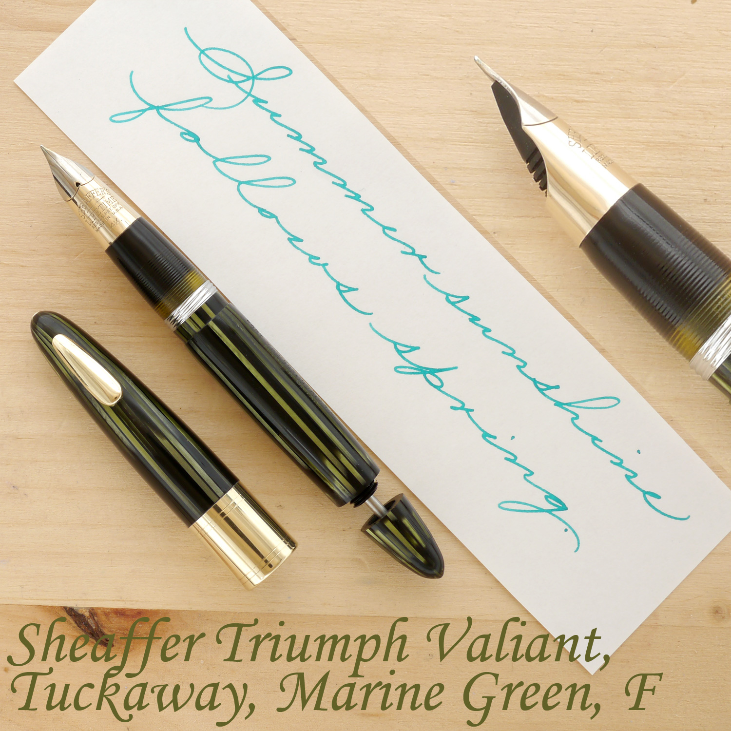 Sheaffer Triumph Valiant Tuckaway Fountain Pen, Marine Green, F, with the cap off and the plunger partially extended