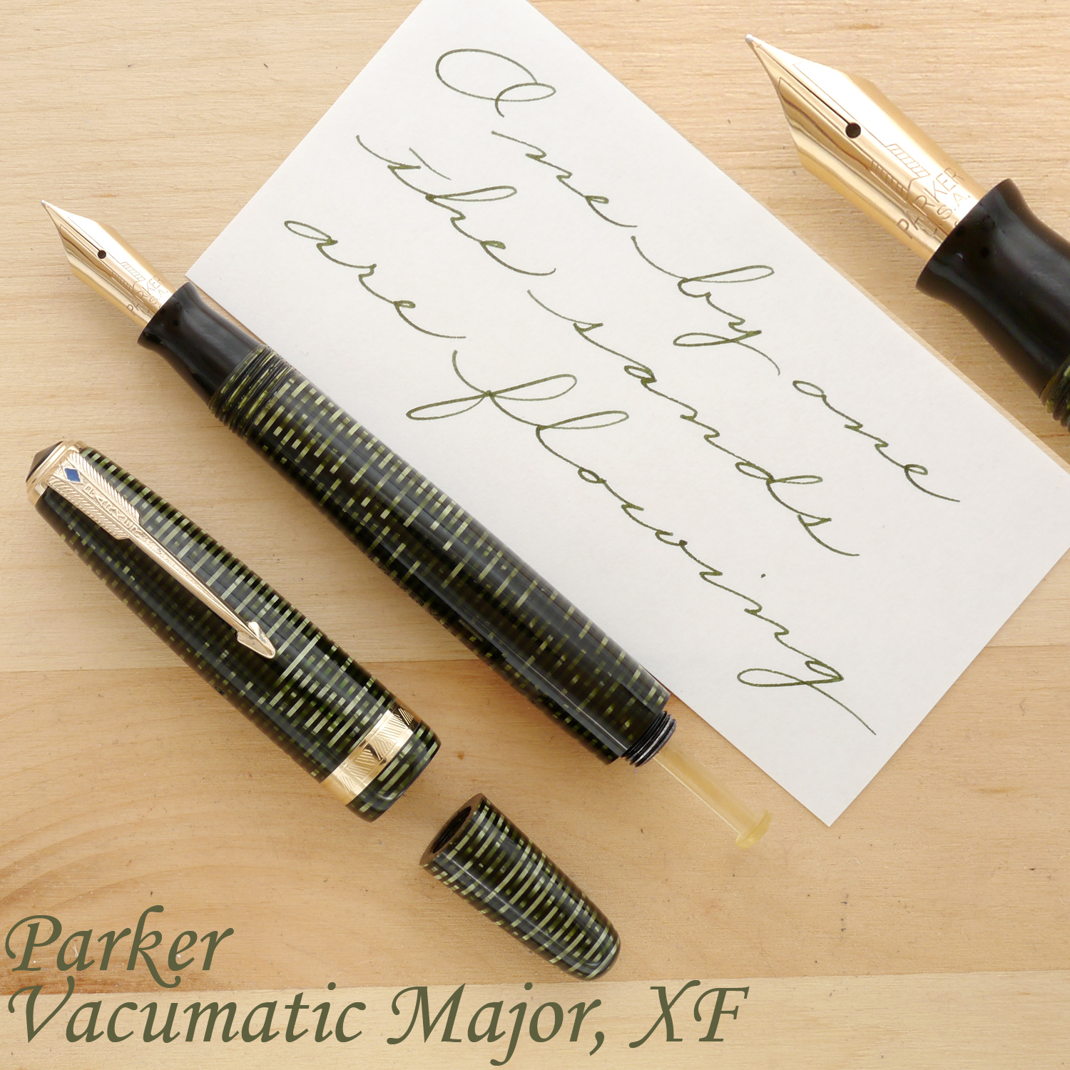 Parker Vacumatic Major, Emerald Pearl, XF, uncapped, with the blind cap off