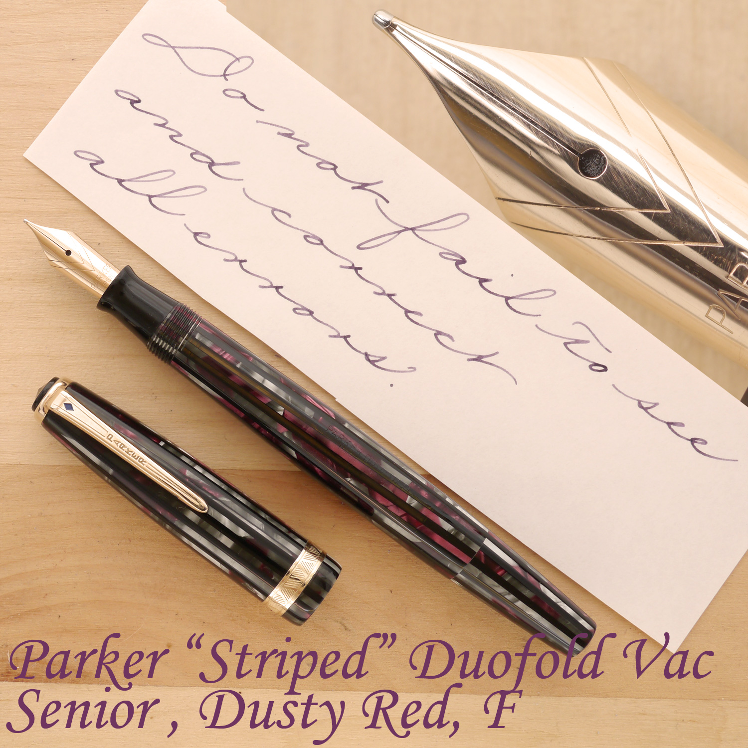 "Parker ""Striped"" Duofold Vacumatic Senior, Dusty Red, F, uncapped"