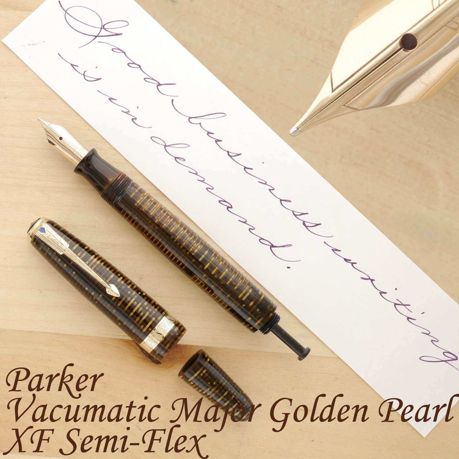 Parker Vacumatic Major, Golden Pearl, XF Semi-Flex, uncapped, with the blind cap removed