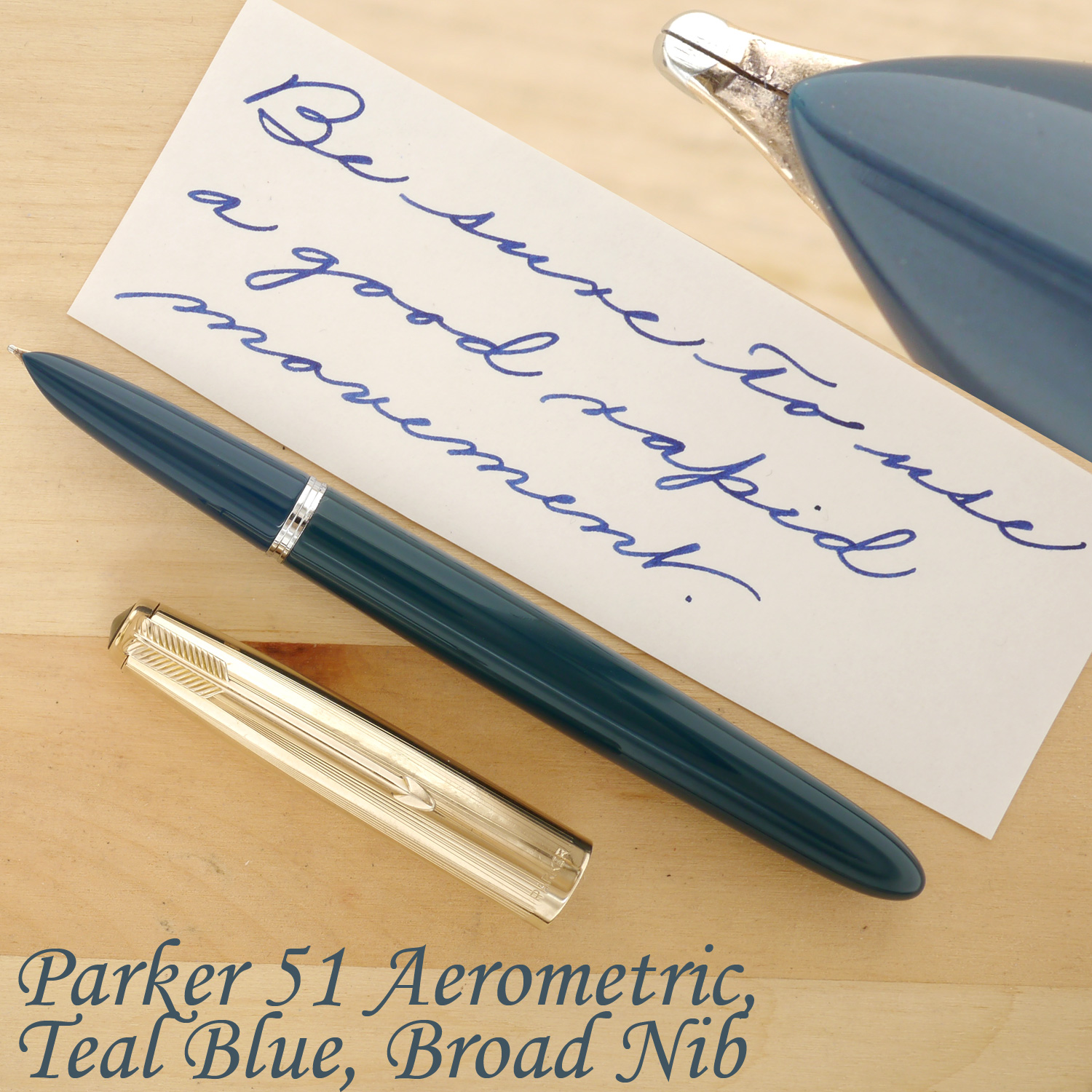 Parker 51 Aerometric, Teal Blue, B, uncapped