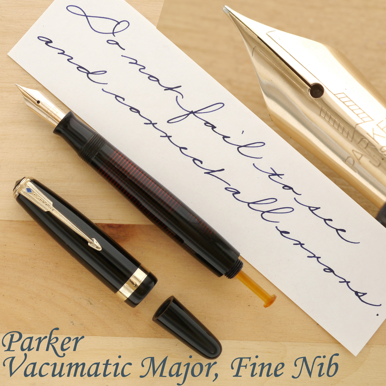 Parker Vacumatic Major Fountain Pen, Black, F, uncapped, with the blind cap removed