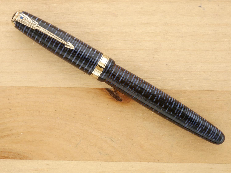 Parker Vacumatic Major Fountain Pen, Azure Pearl, XF, capped