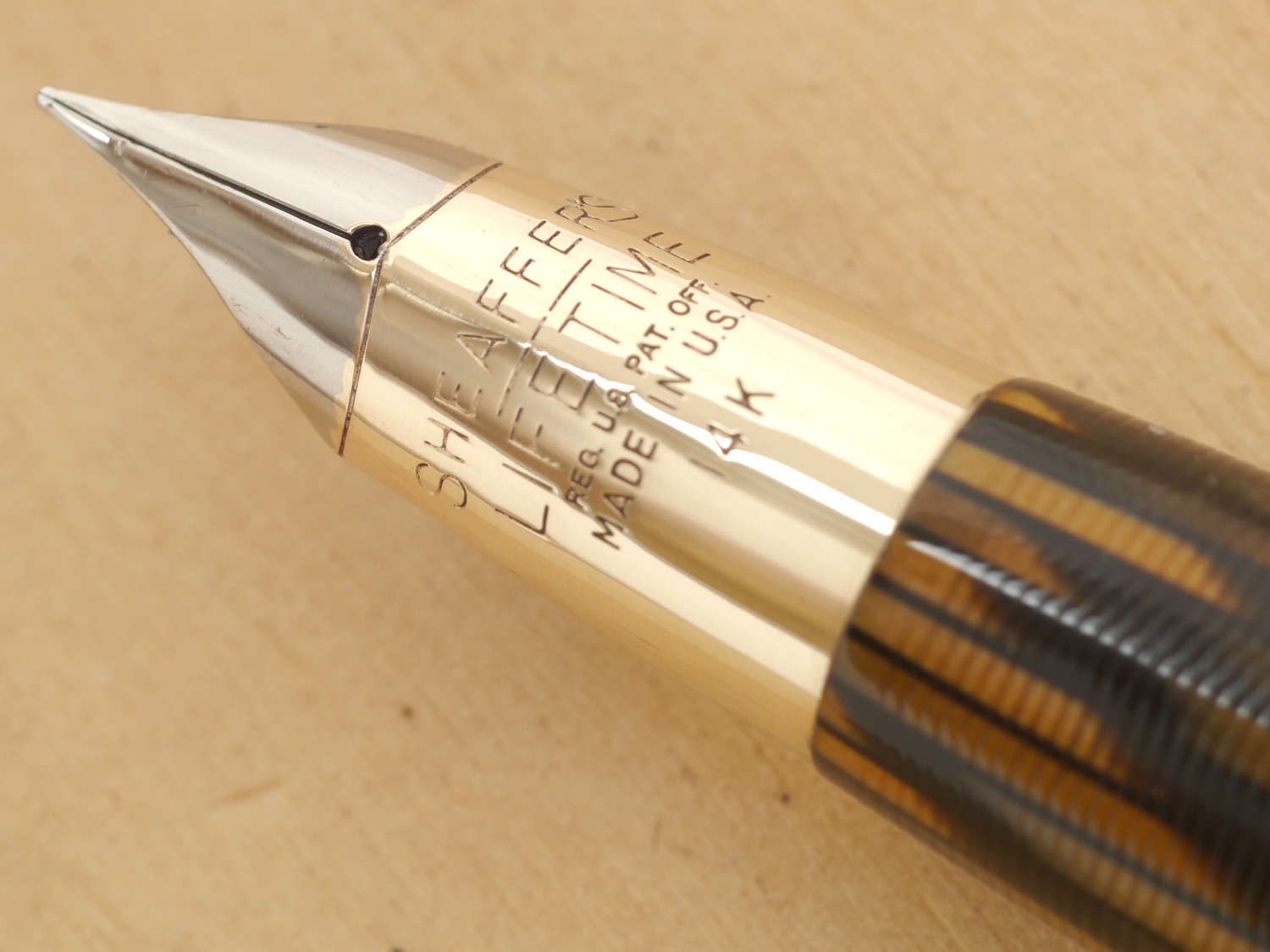 Sheaffer Triumph Valiant Oversize Fountain Pen and Pencil Set, Golden Brown, XF, nib tune-up