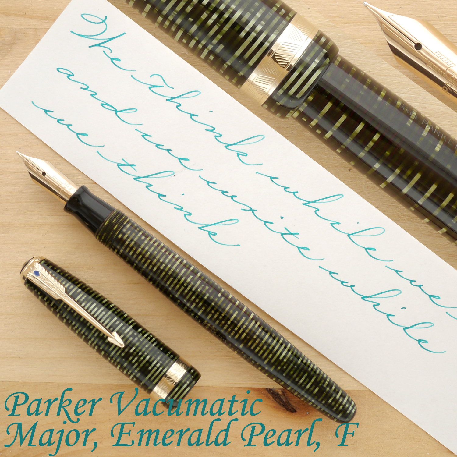 Parker Vacumatic Major Fountain Pen, Emerald Pearl, F, uncapped