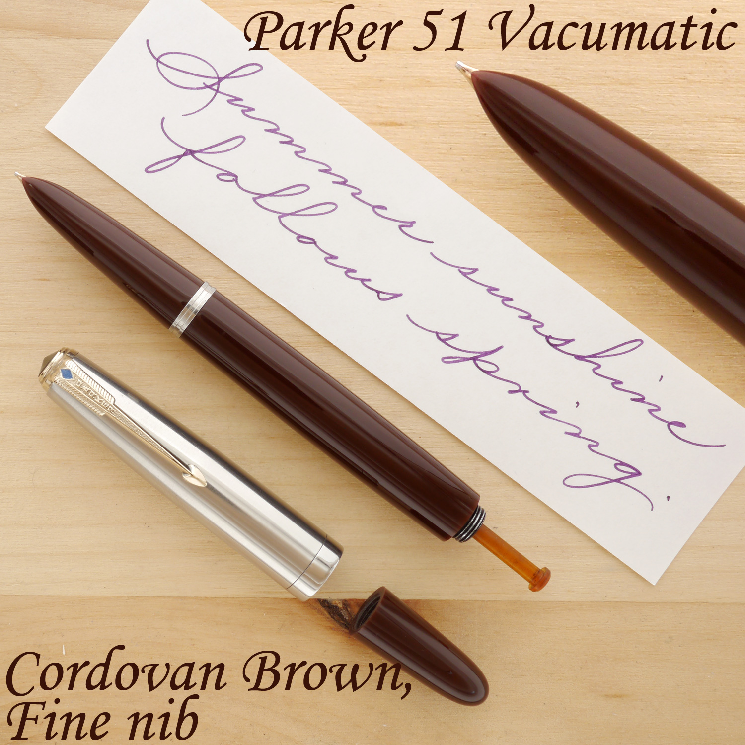 Parker 51 Vacumatic Fountain Pen, Cordovan Brown, F, with the cap and blind cap removed