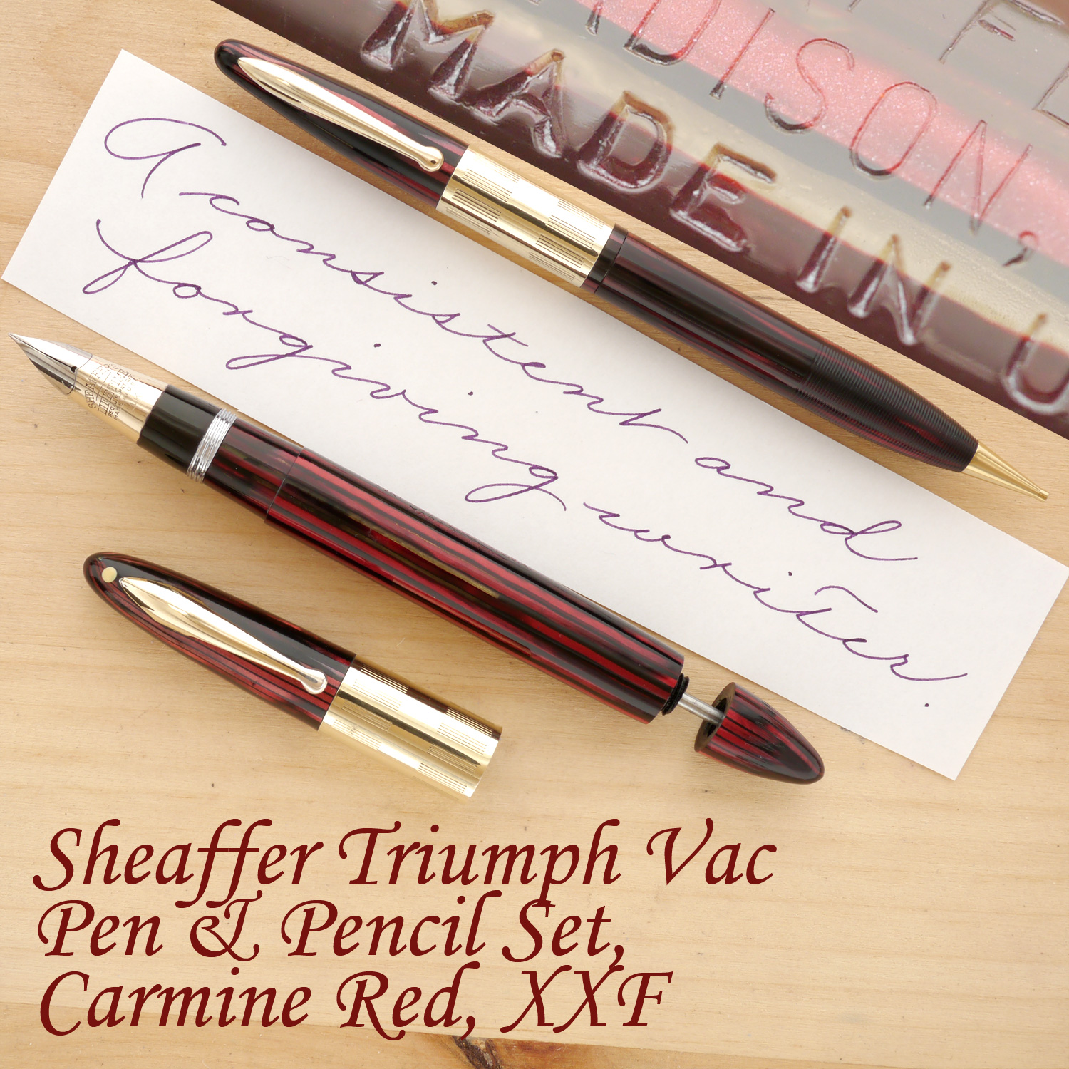 Sheaffer Triumph Vac Fountain Pen, Carmine Red, XXF, uncapped, with the plunger partially extended