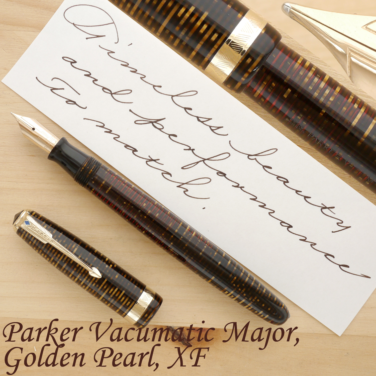 Parker Vacumatic Major Fountain Pen, Golden Pearl, XF, uncapped