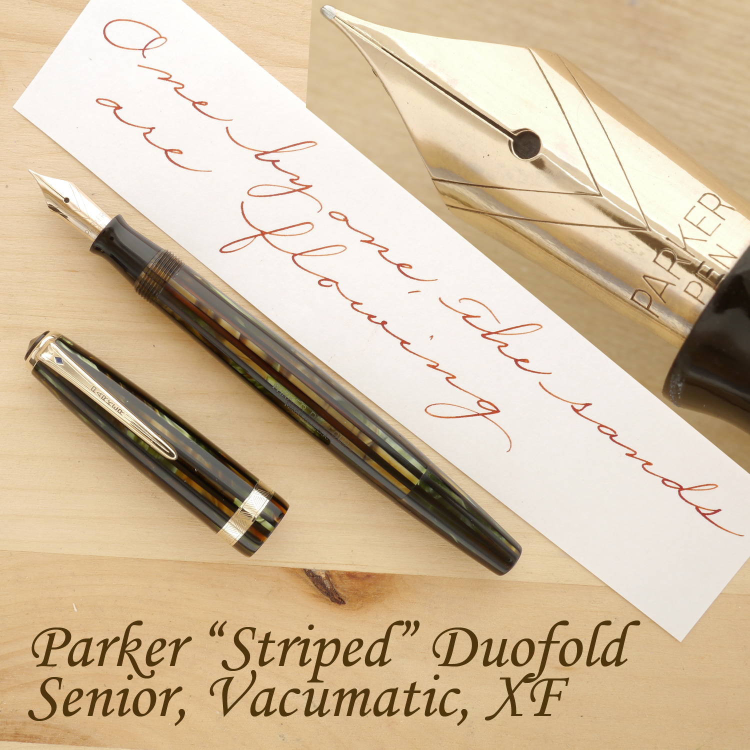 "Parker ""Striped"" Duofold Senior Fountain Pen, Vacumatic, Green & Gold, XF, uncapped"