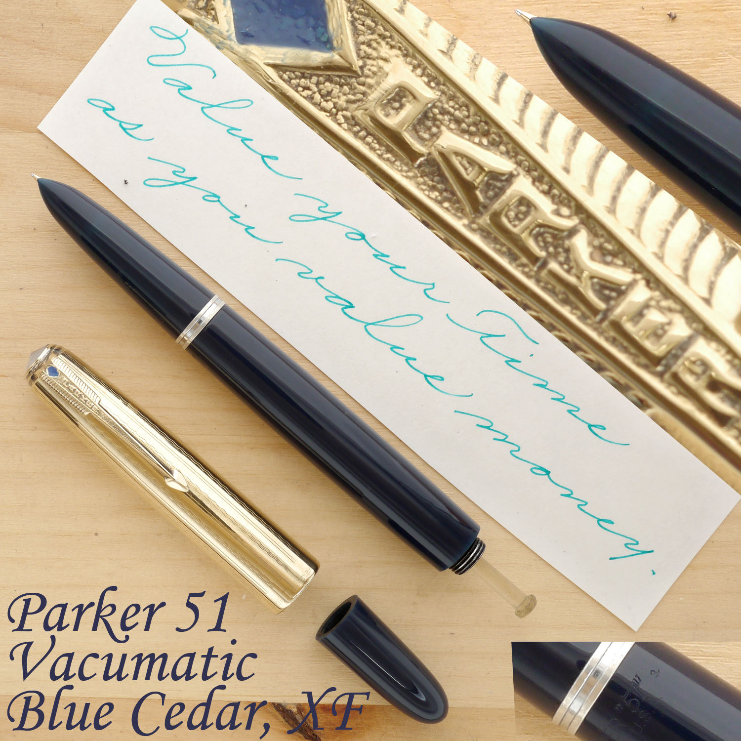 Parker 51 Vacumatic Fountain Pen, Blue Cedar, XF, uncapped, with the blind cap removed