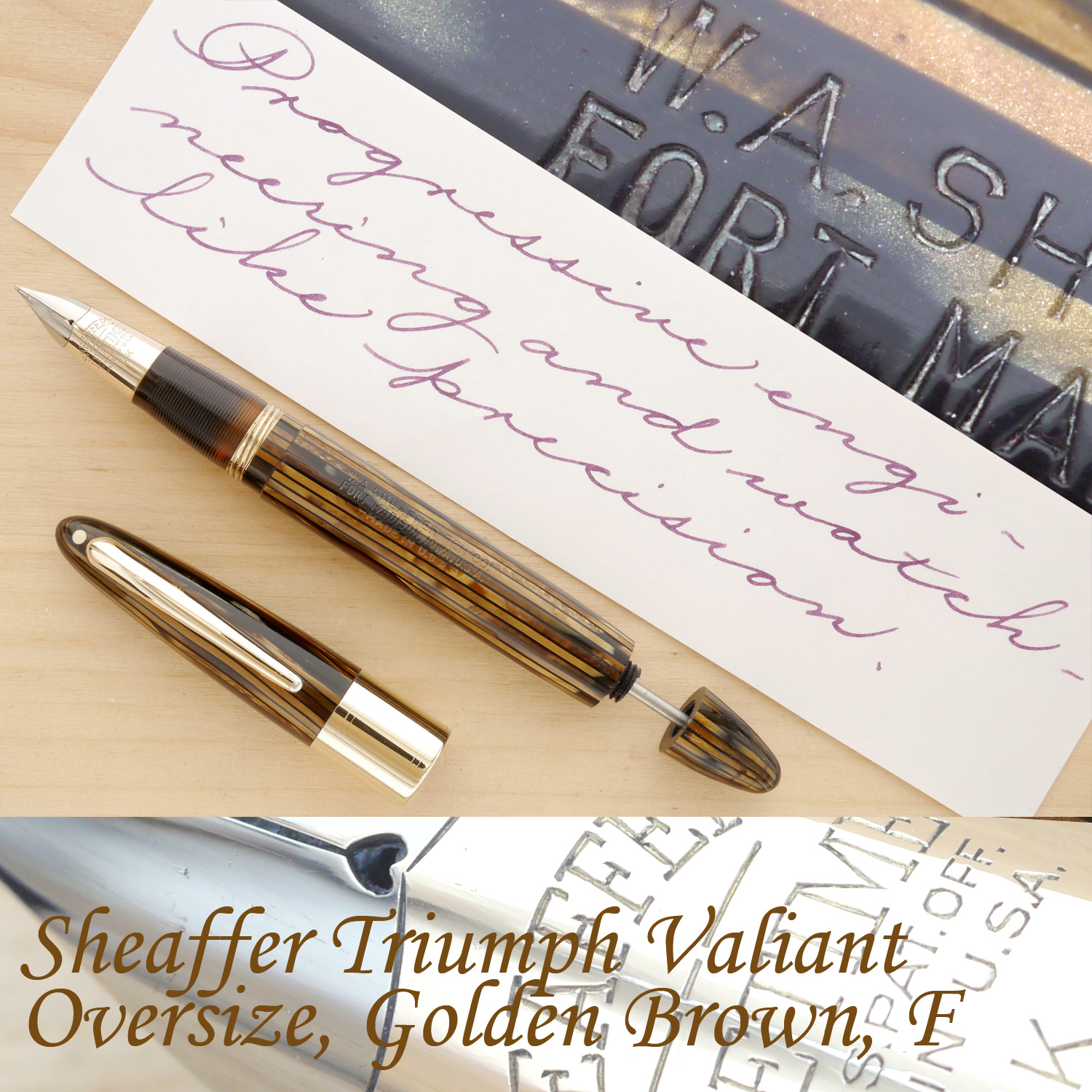 Sheaffer Triumph Valiant Oversize Fountain Pen, Golden Brown, F, uncapped, with the plunger partially extended