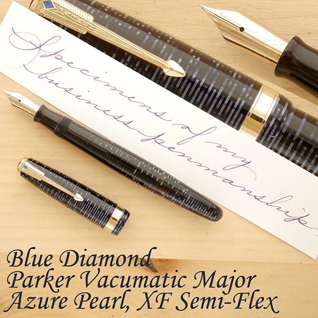 It's very interesting that a lot of new fountain pen enthusiasts are interested in improving their handwriting, and, in particular, in learning (or re-learning) cursive. There's been a lot of discussion lately about the value of learning cursive, and, often, the fountain pen is thought of as the ideal tool with which to practice cursive penmanship. I am not sure if the fountain pen is the answer, but I do believe it offers a combination of features that can be extremely helpful in improving one's handwriting.  The Parker Vacumatic I'm offering today is an excellent penmanship improvement tool. It is a full-size pen (though somewhat smaller than most modern luxury pens), perfectly balanced, with a pleasant tactile sensation, a high-capacity filling mechanism, and an XF semi-flexible nib. The nib is tuned to write at the lightest touch, producing a line of about 0.3 mm (on my paper), opening up to about 0.7 mm, with relative ease. However, this nib is not meant to be flexed a lot, but, rather, it's excels at adding a touch of character, a hint of line variation to your handwriting.  The nib comes with ample tipping material, of perfect geometry and alignment, giving you consistency, virtually regardless of the direction or rapidity of your strokes. Admittedly, the nib produces a more graceful line with rapid strokes, but you can also use it effectively for slow, methodical practice.  More details on my website. Thanks! #parker #vacumatic #penmanship #cursive #handwriting
