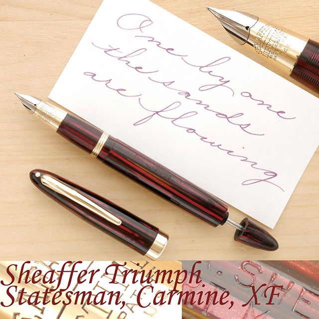 When it comes to classy good looks, the wartime Sheaffer Statesman is definitely in my Top Five. Made of the highly coveted striated Carmine celluloid, the pen looks stunning. The material has such depth, such vibrancy, such shimmering character. The barrel has excellent transparency, and the gold-filled trim looks superb. The imprint is strong. Quite honestly, the pen looks as good as any modern luxury pen and would feel right at home sharing a display case with the latest Montegrappa or Visconti. And, this is the more desirable (and rare) Statesman variant, with a matching striated section and ink stored directly inside the barrel.  However, this pen also happens to be a fantastic performer. It is meant to post securely, so it should be perfectly comfortable for people with larger hands. It's balanced so well, it feels like an extension of your hand. When I put it to paper, I get this exquisite extra-fine monoline of about 0.4 mm. A line that never falters, never skips, or starves for ink. A line that impresses with its sheer willingness to perform. Unlike modern XF nibs, the Triumph has none of the usual toothiness or scratchiness, virtually regardless of your grip, holding angle, or writing pressure. A great pen for anyone wishing to improve their penmanship, particularly cursive, thanks to its impressively larger sweet spot and forgiving nature. And, it holds up to 1.6 ml of ink (using the two-stroke method). More details on my website. Thanks!  #sheaffer #vintagepen #fountainpen #penaddict #penmanship #cursive