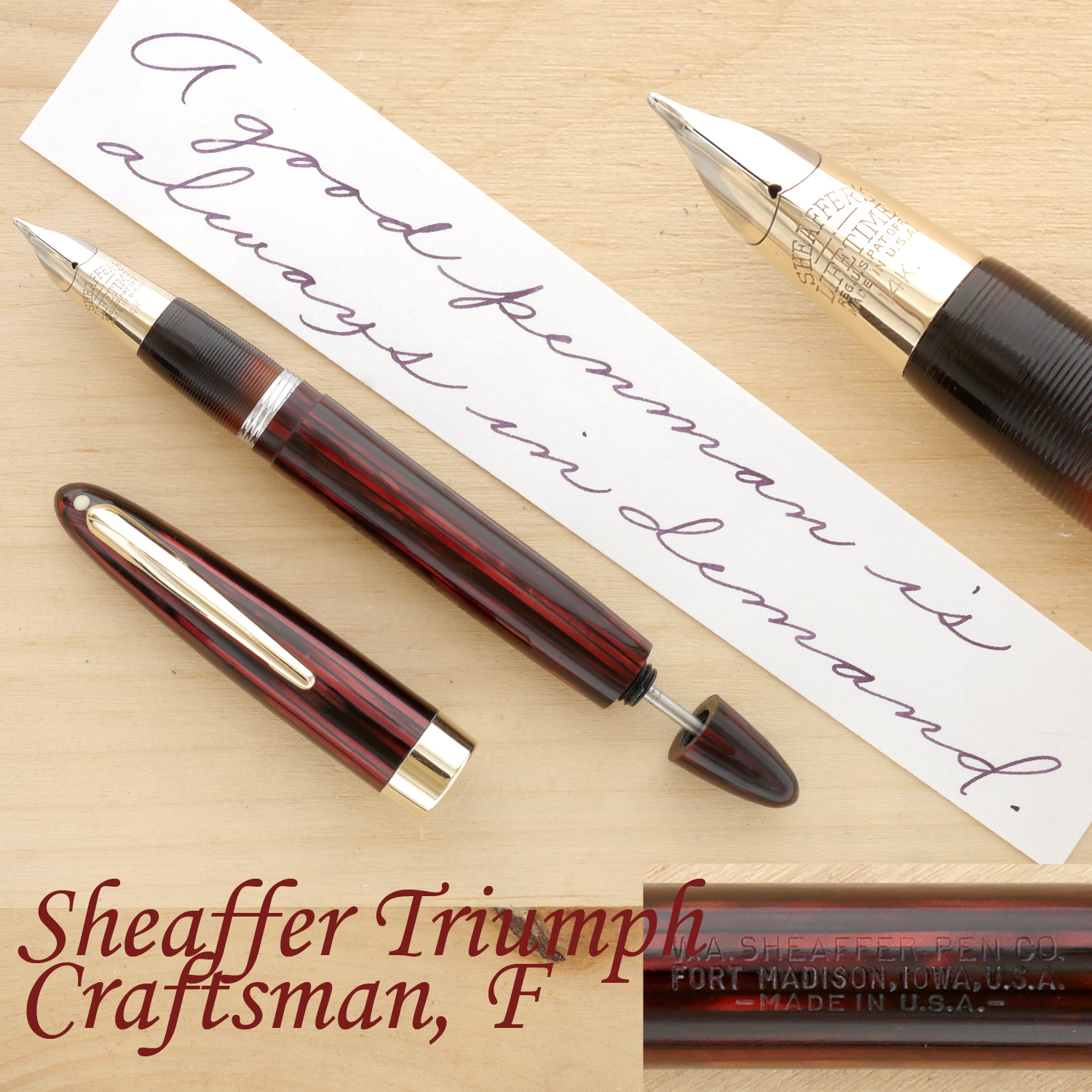 Sheaffer Triumph Statesman Fountain Pen, Carmine, F, uncapped, with the plunger partially extended