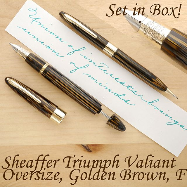 First of all, thank you all for all your good wishes! I am slowing beginning to improve, and having received so much support, really makes me feel so much better!  Today's pen is the rare and highly sought after, wartime Sheaffer Triumph Valiant Vac Oversize, with a matching mechanical pencil and in its original box.  Sheaffer's crowning achievement, the now very rare Oversize Valiant, with the efficient, high-capacity vacuum filling mechanism (up to 1.8 ml using the two-stroke method), made out of the gorgeous striated Golden Brown celluloid, with a matching section, a transparent barrel, and, of course, the Lifetime Triumph nib. In my opinion, this particular model is the Iowa company's greatest technological accomplishment. A perfect marriage of design and engineering, a union so desirable and yet so elusive.  The pen is large, by vintage standards, it posts very well, and so it should be comfortable to hold for most fountain pen enthusiasts. With its superb ergonomics, a slightly textured section, the pen will lend itself to hours of effortless writing. The Triumph nib is so forgiving, so smooth, capable of rapid strokes in virtually all directions. Whether you're right or left-handed, whether you use the tripod or the death grip, whether you right with a featherweight pressure or a heavy hand, the nib will conform to your needs with willingness and ease. It lays down a standard Sheaffer Fine line of about 0.4 mm (on my paper), which puts it in-between modern Western XF and F. The nib is firm, but feels somewhat soft on paper. It's not glassy smooth, but it's not meant to be! It has just enough tooth to provide a seamless connection to the paper, but without feeling unpleasant in any way.  Details on my website. Thanks! #sheaffer #vintagepen #penmanship #cursive #handwriting #penaddict