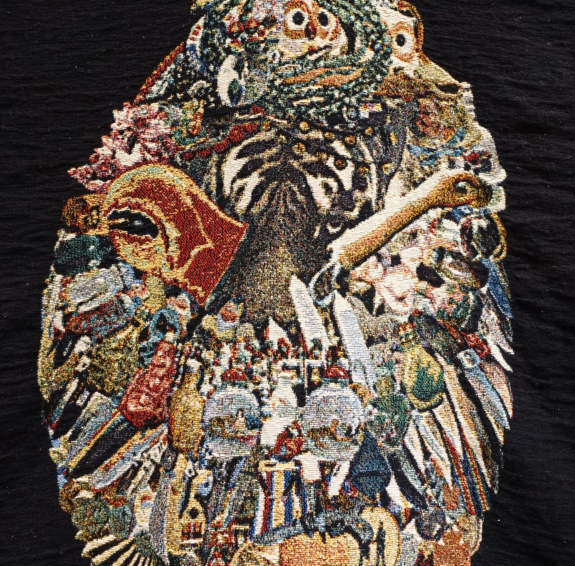 detail:  eBay Sarcophagus, or, I love you this much $14,911.18  | woven digital tapestry, papier mâché, gouache, acrylic paint, clay| 24INx60INx80IN