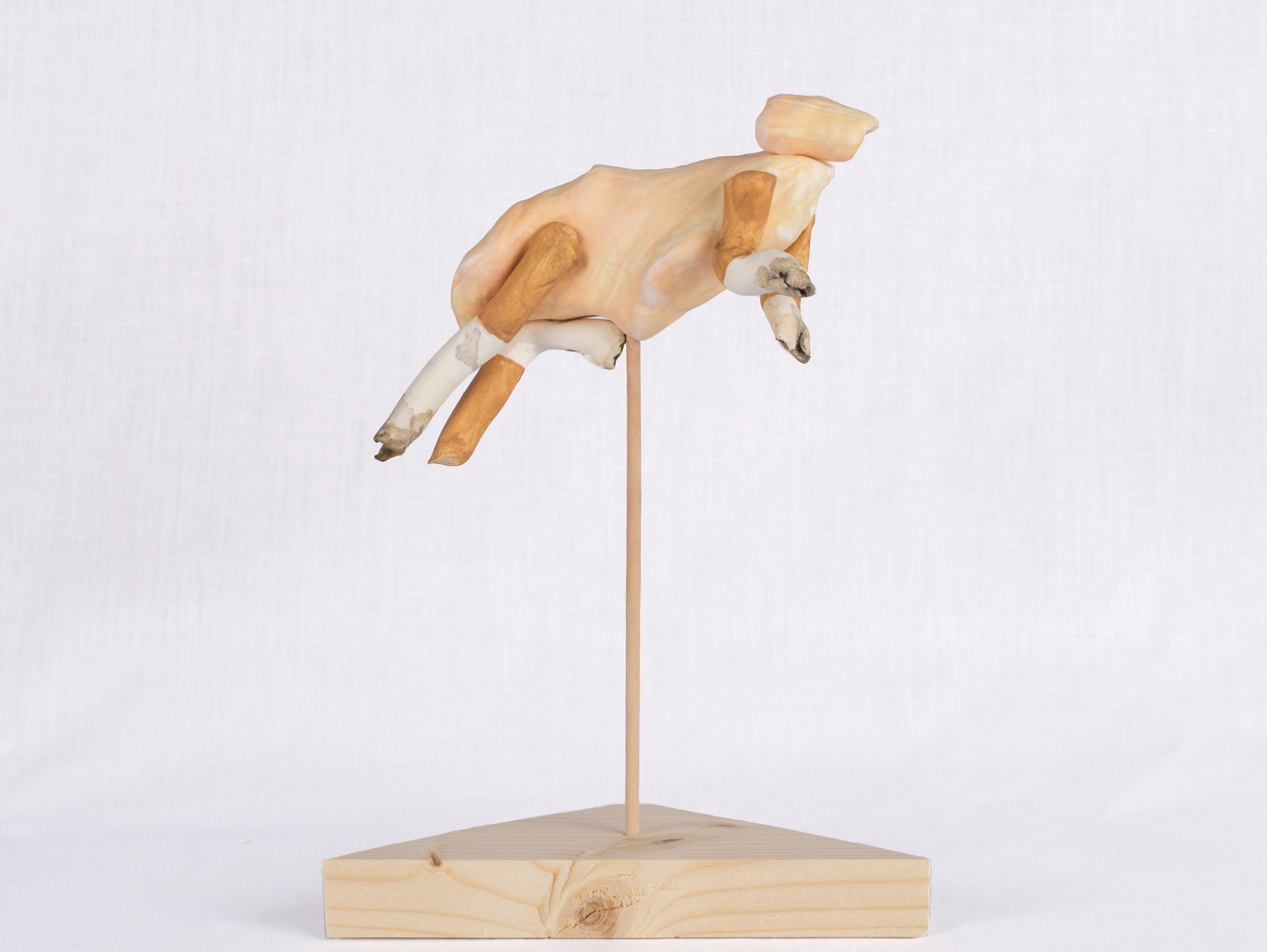 HASU200511, or, African Savanna Hare  | clay, gouache, wood | 3.5INx3.5INx7IN