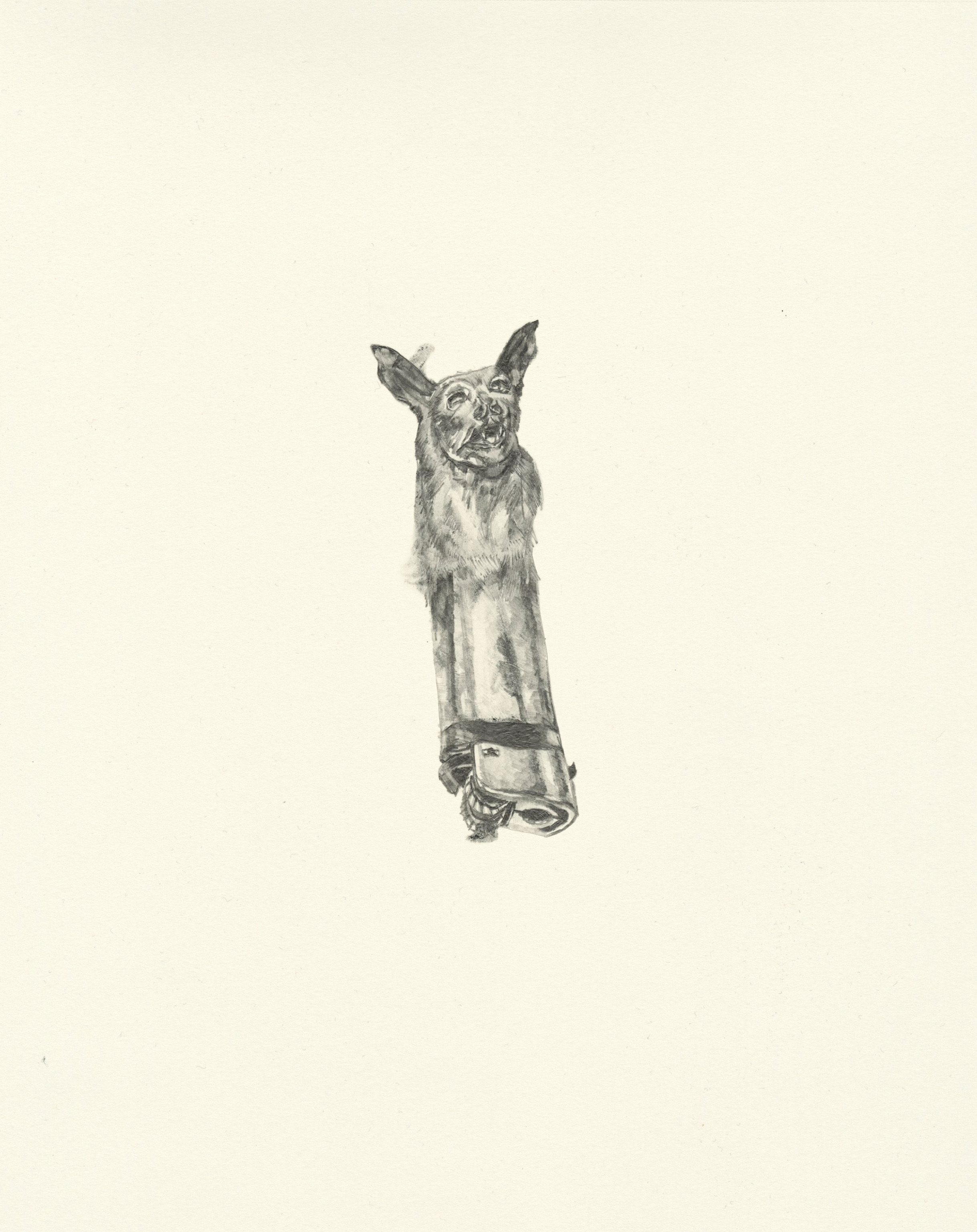 My Boyfriend is a Peacekeeper xxi  | graphite on paper | 9.5INx12IN   Excerpt from My Boyfriend is a Peacekeeper Book:  This bat has the same nose as you. The ears remind me a little of you as well and so I keep him in my pocket. It is nice to hold on to something.