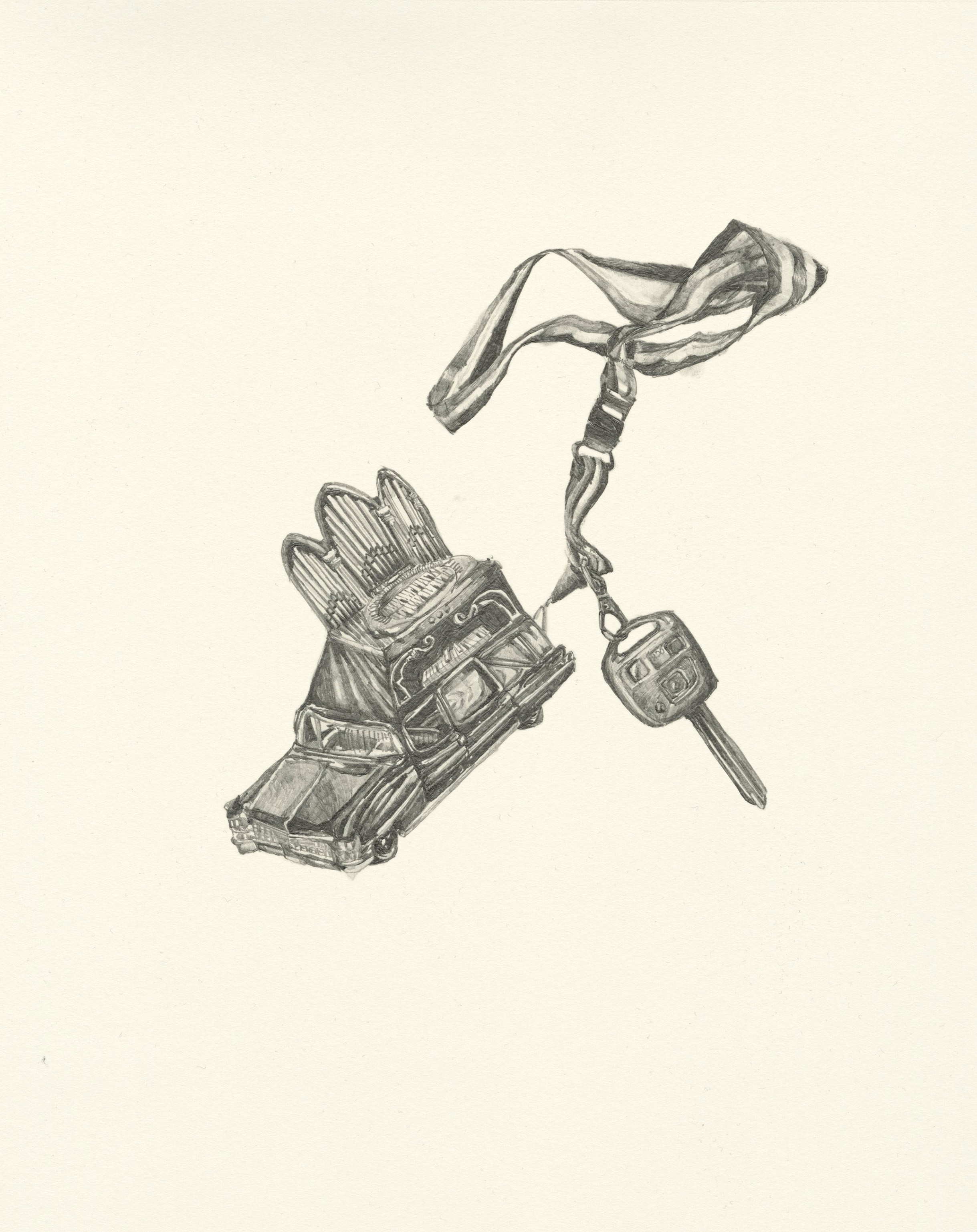 My Boyfriend is a Peacekeeper xvi  | graphite on paper | 9.5INx12IN   Excerpt from My Boyfriend is a Peacekeeper Book:  I had this keychain carved as a reminder. It is actually a music box with a turning arm.... I would walk the roads and rotate the tiny arm that stuck out like a bone as slowly as possible. It was like buying time and had numerous imaginary implications.