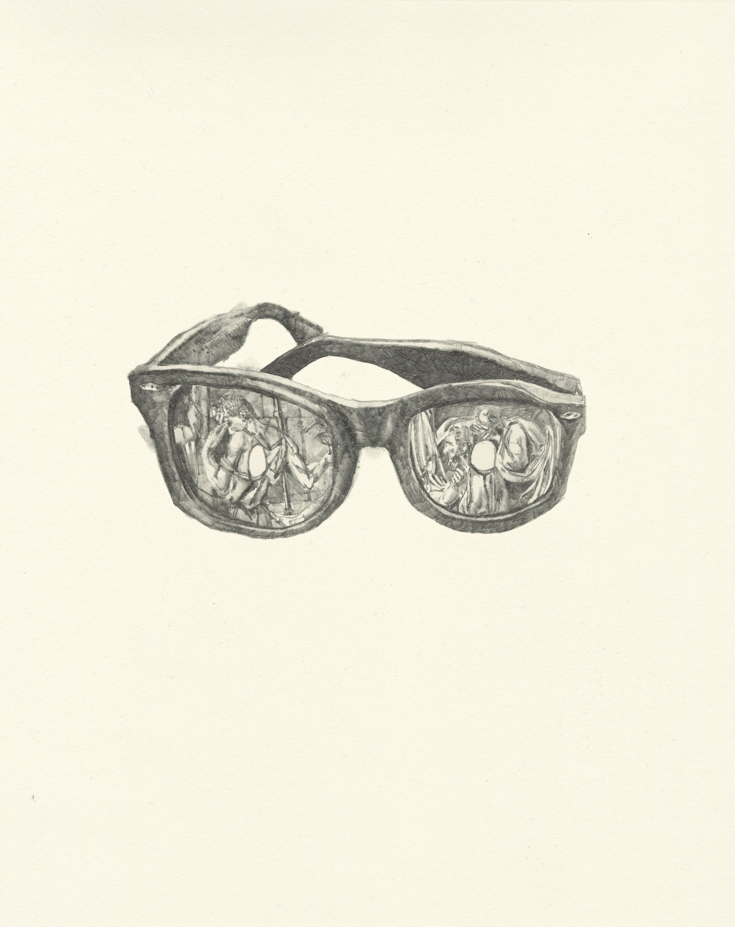 My Boyfriend is a Peacekeeper xiii  | graphite on paper | 9.5INx12IN   Excerpt from My Boyfriend is a Peacekeeper Book:  I picked you up some sunglasses, one eye is exposed and one is covered. They enable to viewer to see the world through the dual lens of life and death, though when I was wearing them I would alternate every 24 hours: Monday death, Tuesday life, Wednesday death...and then...Monday life, Tuesday death, Wednesday life...