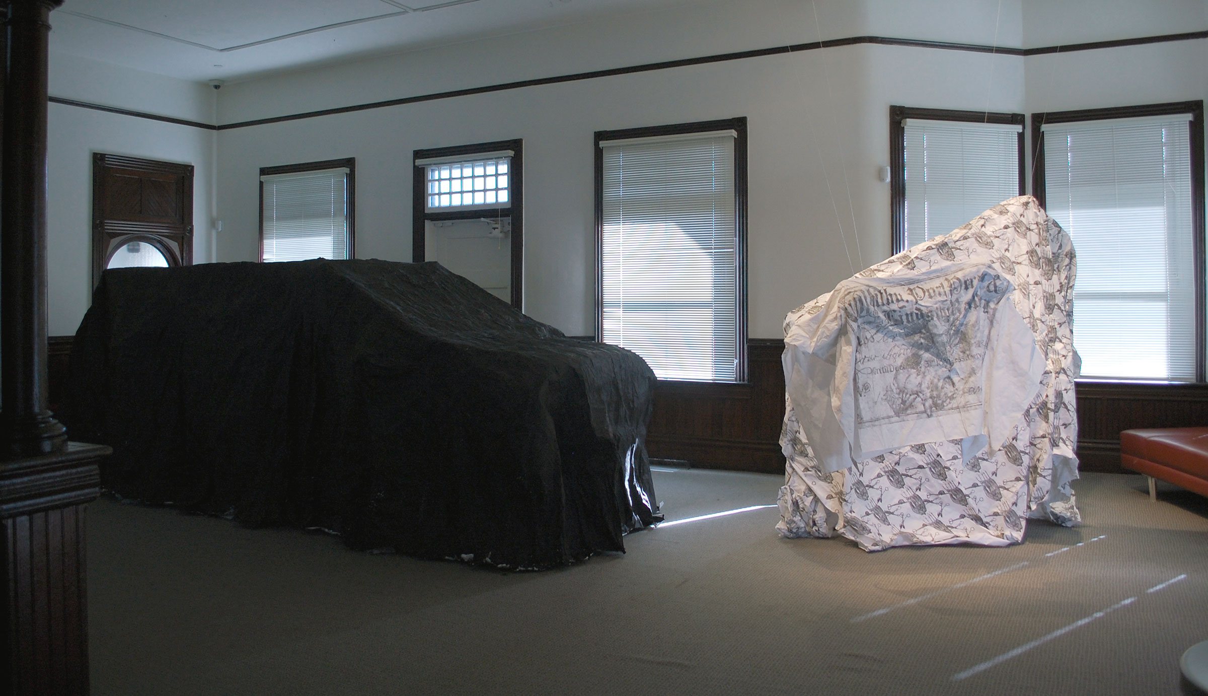 a dog is short a car is long  | paper, sewn digital prints, gesso | horse, dog, car ghosts 1:1 scale