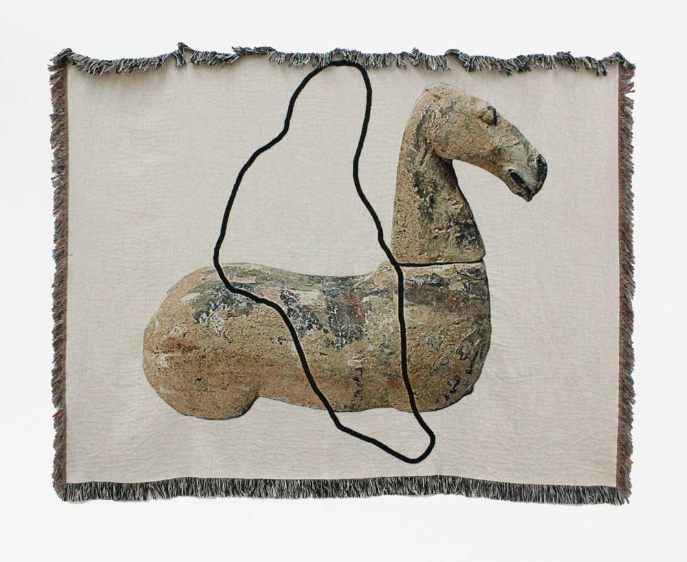 A riderless horse has no legs : edition of 3 | woven digital tapestry | 60INx80IN