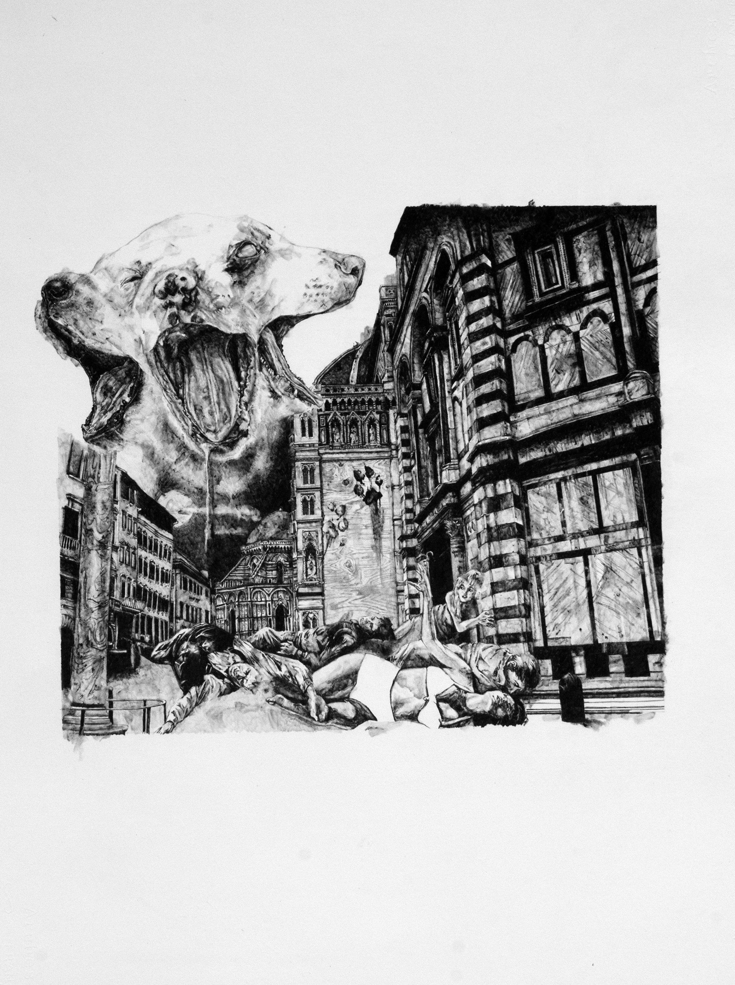 "Horror Movie Poster i  | graphite | 22""x30"" | 2015"