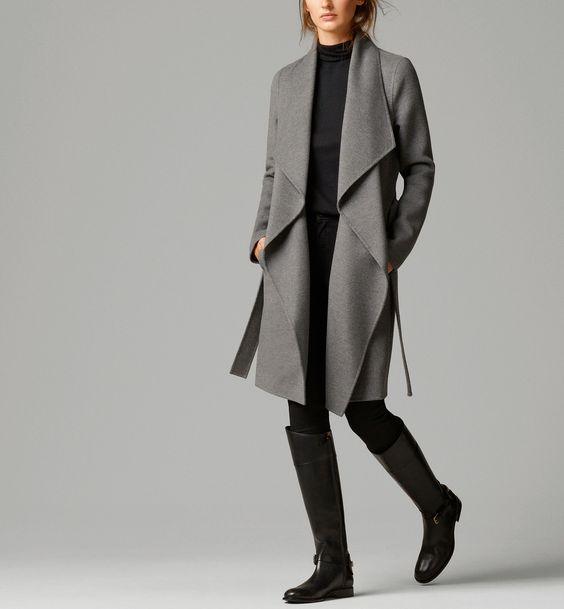 Drape Front Massimo Dutti Gray Woll Coat with Belt.jpg