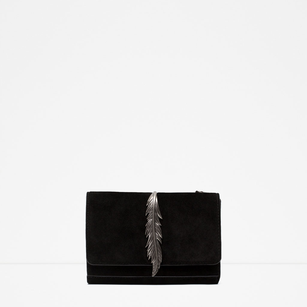 Zara Black Leather Messenger Bag with Metal Detail.jpg