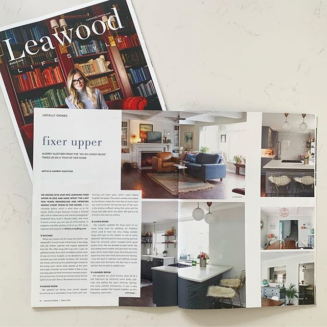 It was so exciting seeing our 1972 fixer-upper in the latest issues of @leawood_lifestyle and @johnsoncountylifestyle magazines! This issue also features the gorgeous homes of @themakerista and @cellajaneblog - so good!!