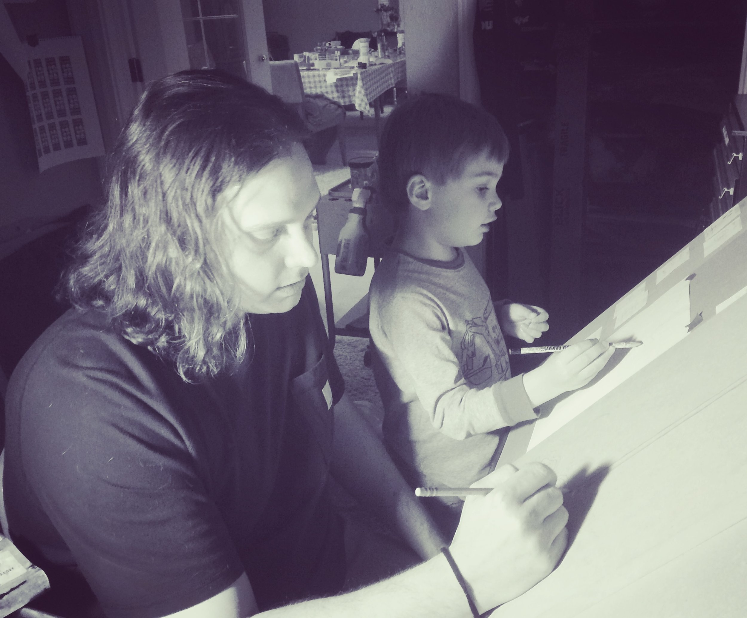 Luke Funk and Liam, Drawing Sunflowers, 2017