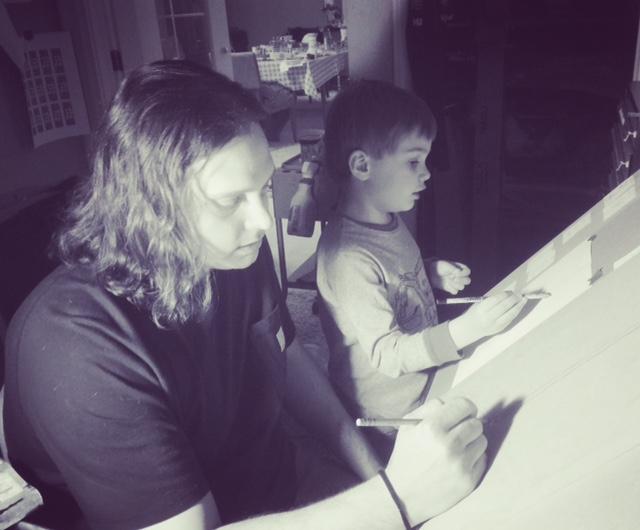Luke Funk and Liam, Drawing Sunflowers, 2017