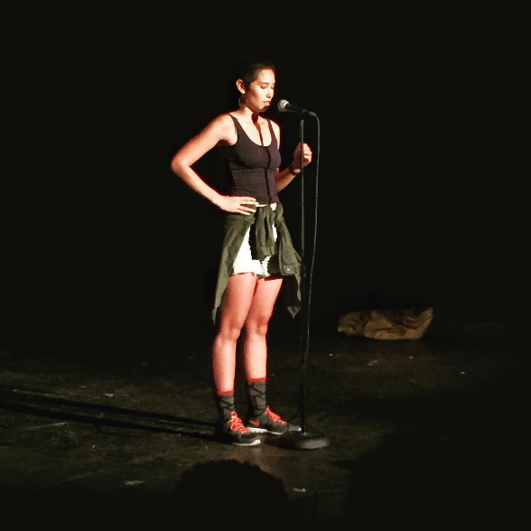 Laurie performing at Da Poetry Lounge in Los Angeles in 2015.