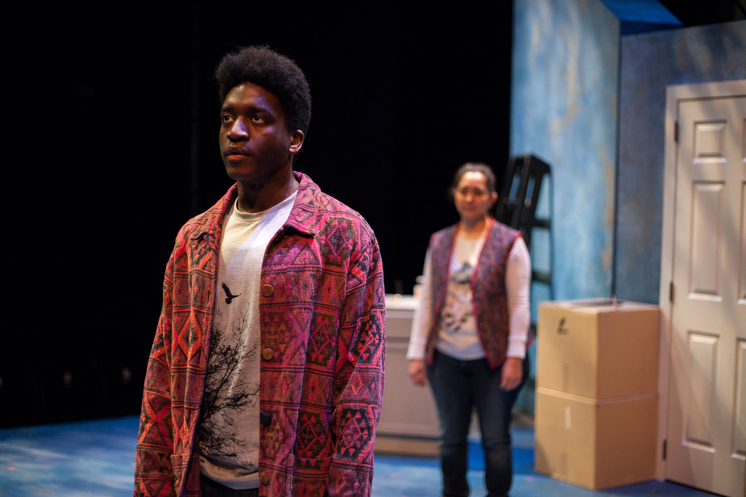 Daniel Nkoola and Martinique Duchene-Phillips in UT Austin's production, 2018. Photo: Lawrence Peart, Courtesy of The University of Texas at Austin
