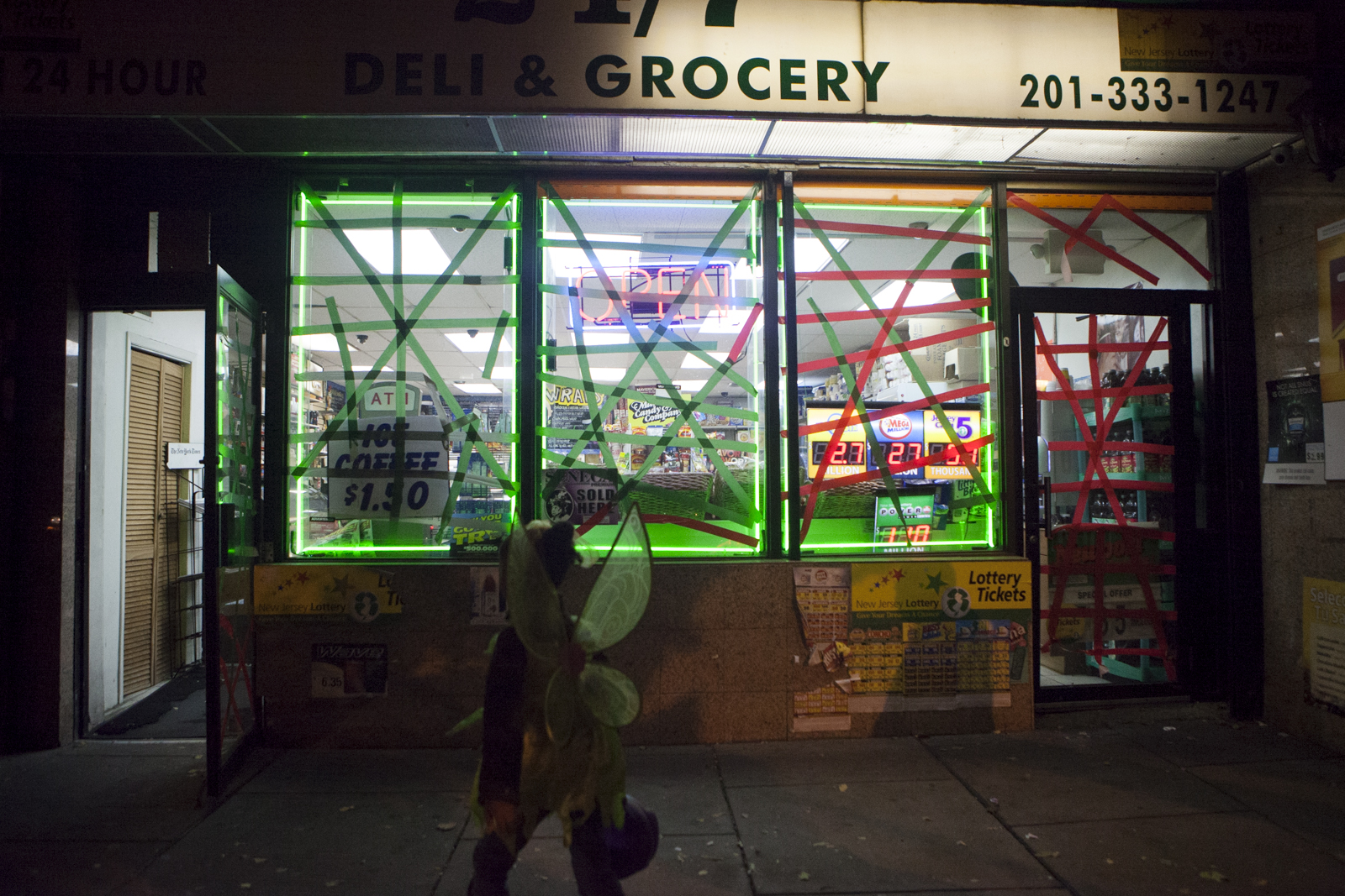 Some businesses are open, but their windows are taped up and mostly taking cash only.