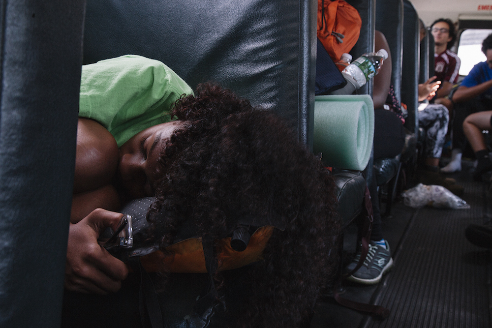 Bella sleeps on the way to the Mohican Outdoor Center in the Delaware Water Gap.